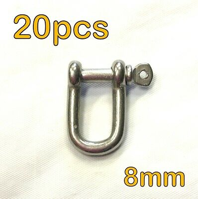 20pcs - 8mm STAINLESS STEEL DEE D SHACKLE MARINE SHADE SAIL CAR MOORING #1
