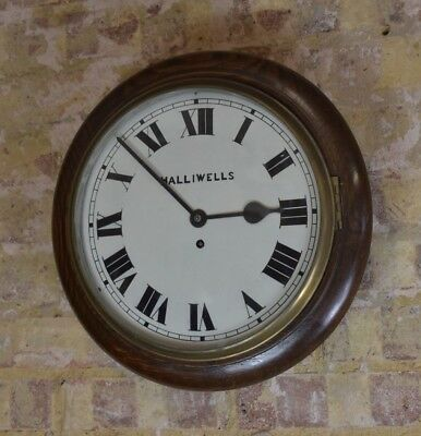 Antique wall clock school station clock oak working Halliwells