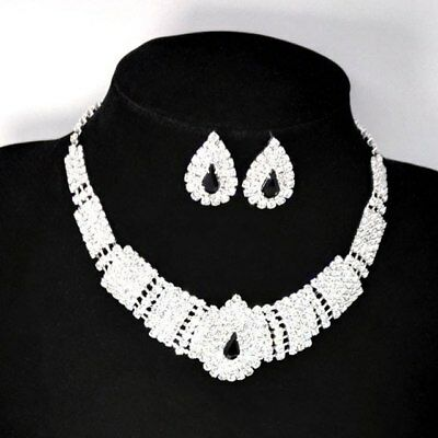 Bridal Black Diamante Crystal Elegant Necklace Earrings Jewelry Set for Wedding