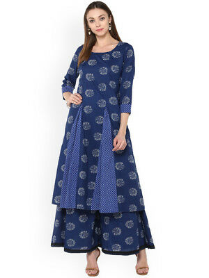 Indian kurta Kurti With Palazzo Dress Kurta Top Tunic Set Solid Combo EthnicKP29