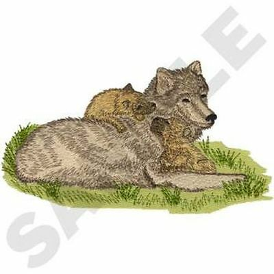 """Wolf & Cubs, Wolves, Embroidered Patch 7.9 """"x 4.4"""""""