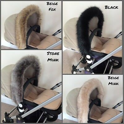 Luxury Pram Faux Fur -Hood Trim- fits Bugaboo, Silver Cross etc -Custom Made-