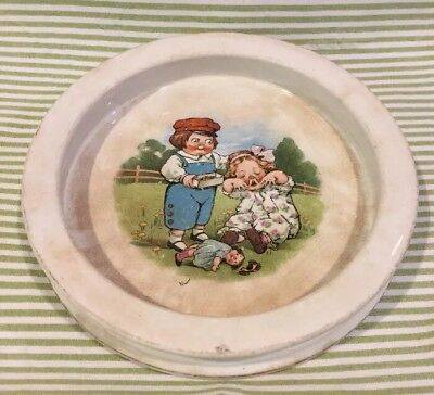 Vintage Buffalo Pottery Baby Feeding Dish Bowl Campbell Soup Kids