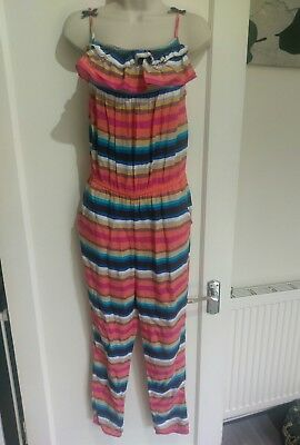 Girls (M&S) Multi-Colour Summer Jumpsuit Age - 12-13 #k