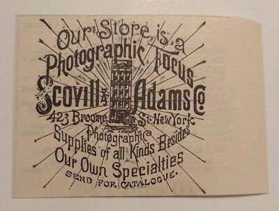 1891 Scovill & Adams Photographic Supplies Advertisement NY
