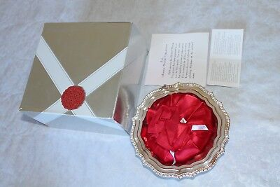 Vintage Avon Hudson Manor Collection Silverplated Dish And Satin Sachet