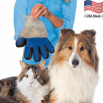 Pet Grooming Gloves Brush Dog Cat Hair Remover Mitt Massage Deshedding 1 Pair US