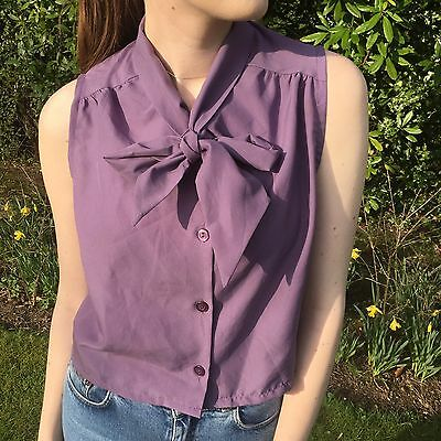 fef32fd92f Womens Vintage Blouse Sleeveless Crop Top Pussybow Shirt M L 80s 90s  Festival