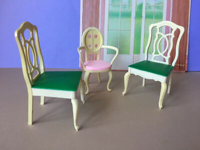 REDUCED 70s Sindy doll chairs green pink spares furniture fit Barbie SHIMMYSHIM