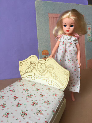REDUCED 60s Sindy doll cherubs bed + rose mattress and night dress SHIMMYSHIM