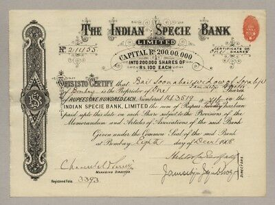 Indian Specie Bank Limited – Aktie, 100 Rupien, BOMBAY (Indien), um 1908