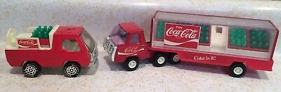 Vintage Buddy L Coca Cola Coke Is It! Trucks + Semi Trailer & Bottles