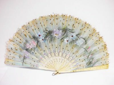 antiker handbemalter Spitzenfächer-19th century-antique handpainted lace fan