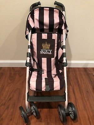 Maclaren Juicy Couture Techno Xt Doll Stroller Brown Pink Stripes Toy Play