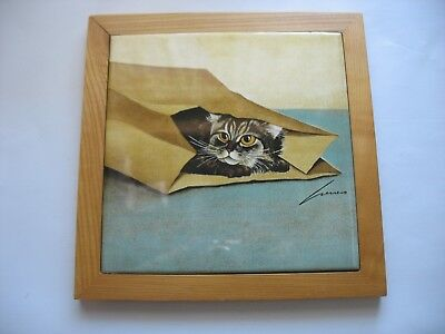 Vtg Cat Ceramic Art Hanging wall Tile or Trivet by Lowell Herrero 1982 Japan