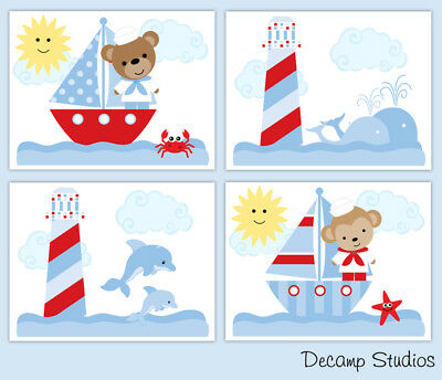 Nautical Sailboat Nursery Prints Baby Boy Wall Art Kids Sailing Whale Monkey