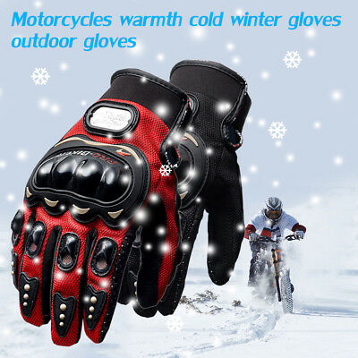 Pair Thermal Riding Motorbike Motorcycle Gloves Carbon Knuckle Protection Warm