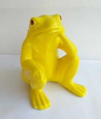 """Vintage Ceramic Yellow Frog Statue Figurine Lounging Frog 7.5"""""""