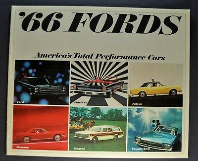 1966 Ford Brochure Mustang Galaxie Fairlane Falcon Thunderbird Excellent Orig 66
