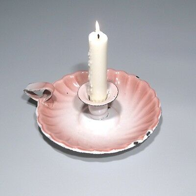 Vintage French Enamelware Pink and White Enamel Candleholder, Shell