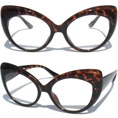 CAT EYE CLEAR LENS GLASSES Bold Frame Retro Hipster Retro Vintage Demi Style NEW