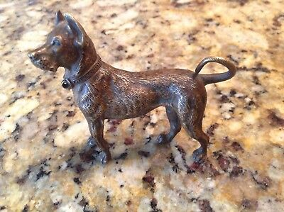 Antique~Vintage  Bronze Statue Of A Great-Dane Dog  Magnificent