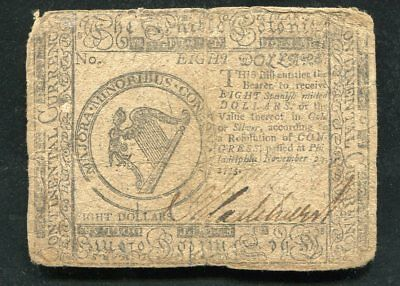 Cc-18 November 11, 1775 $8 Eight Dollars Continental Currency Note