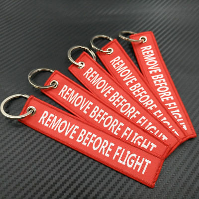 5xRemove Before Flight Car Auto key Chain Luggage Tag Zipper Keychain Embroidery