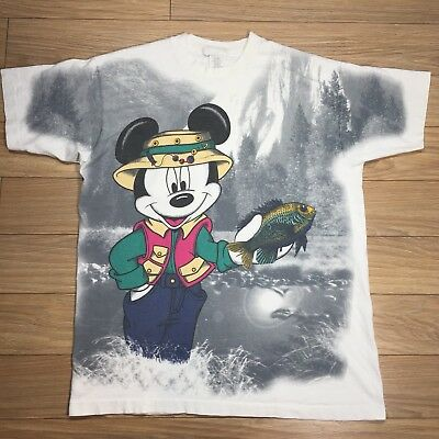 Vintage Mickey By Jerry Leigh Mouse T Shirt Single Stitch One Size Fishing USA