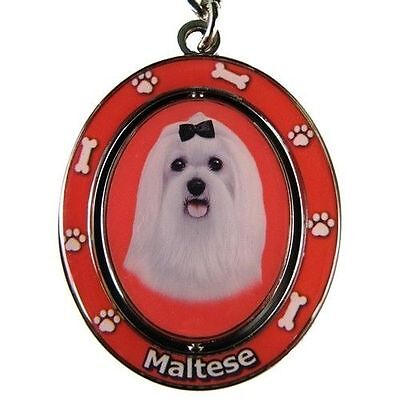 Maltese Dog Spinning Key Chain Fob