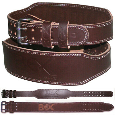 """BEX Weight Lifting 4"""" Leather Belt Back Support Strap Gym Power Training Fitness"""