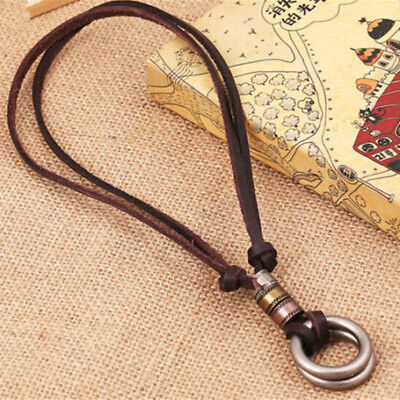 Retro Vintage Men Leather Cord Necklace Double Circle Ring Pendant Jewelry