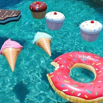 Swimming Pool Float Water Ring Ice Cream Shaped Inflatable Play Game Toy Rakish