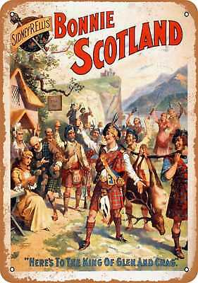 "9"" x 12"" Metal Sign - 1895 Bonnie Scotland Play - Vintage Look Reproduction"