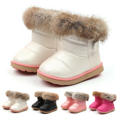 Kids Baby Toddler Boys Girls Leather Winter Bootie Warm Snow Shoes Boots Comfy