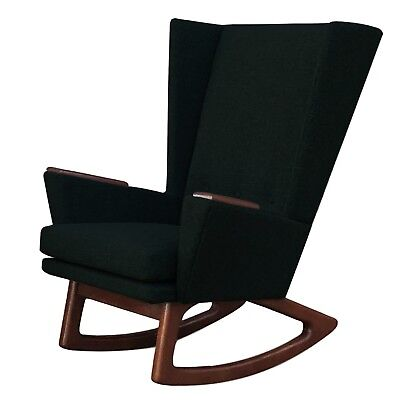 New Mid Century Danish Modern Wingback Club Lounge Accent Glider Rocking Chair