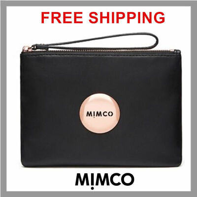 Freepost Mimco Black Gold Medium Pouch Wallet Sheep Leather Rrp99.95 Genuine Df