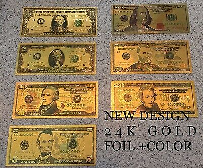 24KT GOLD LEAF US BANKNOTE LOT 7 PIECES. L1Ac