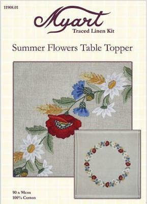 MYART Traced linen kit embroidery table topper 80 x 80cm Summer Flowers