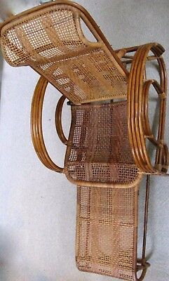 c.1920's Bamboo & Rattan Adjustable Lounge Chair with Attached Pull-Out Ottoman