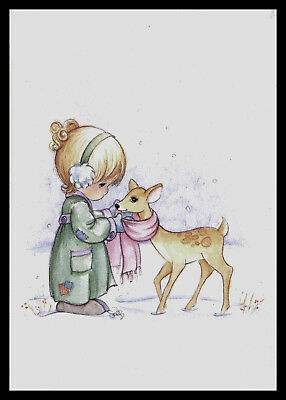 430-INV CHILD DEER 'PRECIOUS MOMENTS' Christmas Greeting Card VINTAGE