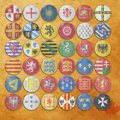 Coat of Arms Badge Middle Ages Flag Pinbacks Ancient Emblem Button Tin 58mm/2.2""