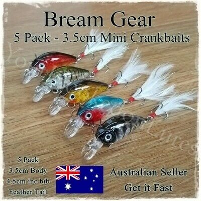 5 Bream & Trout Fishing Lures Yellowbelly Redfin, Flathead Salmon, Whiting 3.5cm
