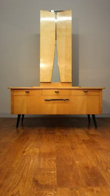 Smart Continental 1950S Satinwood Lady's Dressing Table / Vintage Retro 60S