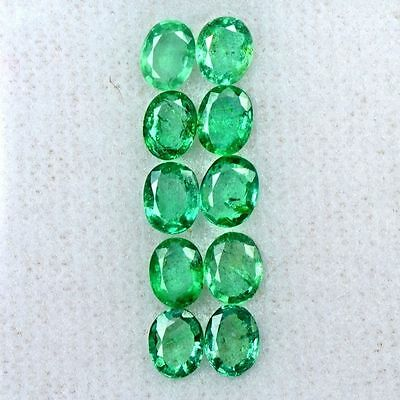 2.86 Cts Natural Top Green Emerald Oval Cut Lot Zambia 5x4 mm Loose Gemstone