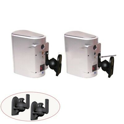 Universal Rotatable Speaker Wall Mount Stand Bracket 1 Pair Black R5Q6