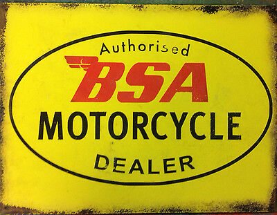 BSA motorcycle dealer advertising vintage retro signs repro wall art