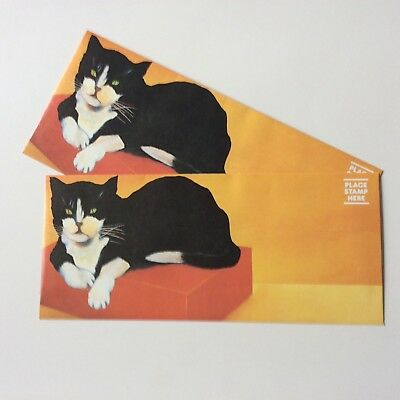 Vintage Rare Pair (2) 1978 Extra Long Unused Envelopes  Of A Large Reclining Cat