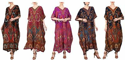 Women Kaftan Tunic Kimono Long Maxi Party Dress for Loungewear Beach Nightwear
