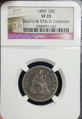 1859 Seated Liberty Quarter, NGC VF 35